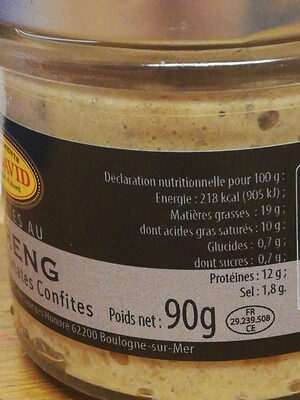 Rillettes de hareng - Informations nutritionnelles - fr