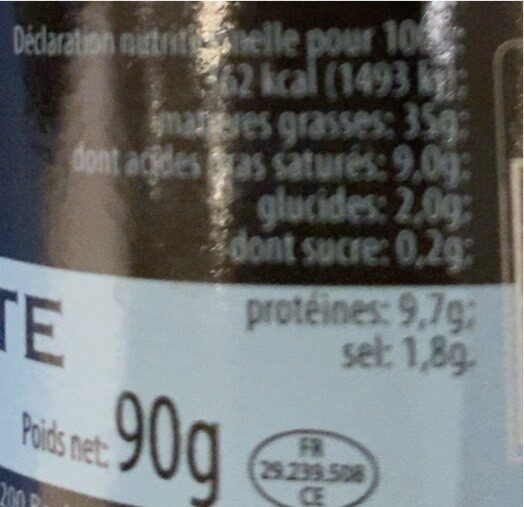Foie de lotte - Nutrition facts - fr