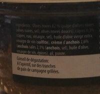 Tapenade Noire - Ingredients