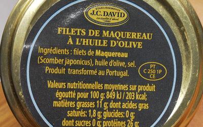 Filets de Maquereau à l'huile d'olive - Ingrédients