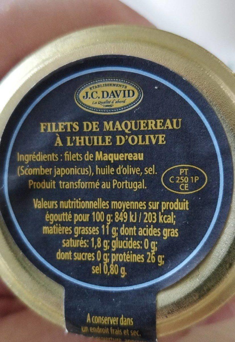 Filets de Maquereau à l'huile d'olive - Informations nutritionnelles