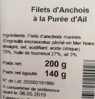 Filet d'anchois à la purée d'ail - Ingredients - fr