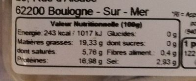 Filet d'anchois à la purée d'ail - Nutrition facts - fr