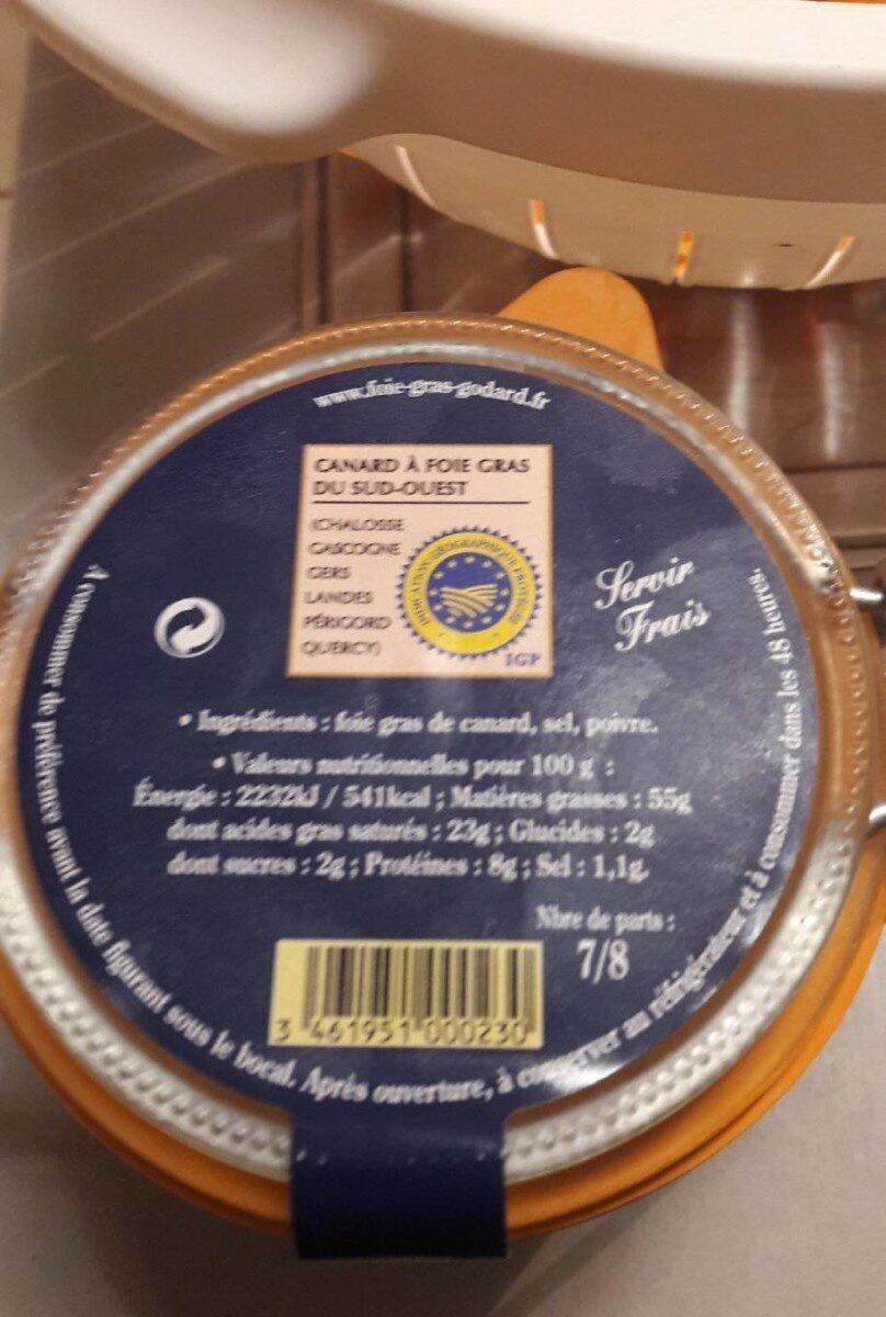 Foie gras de canard entier du perigord - Voedingswaarden