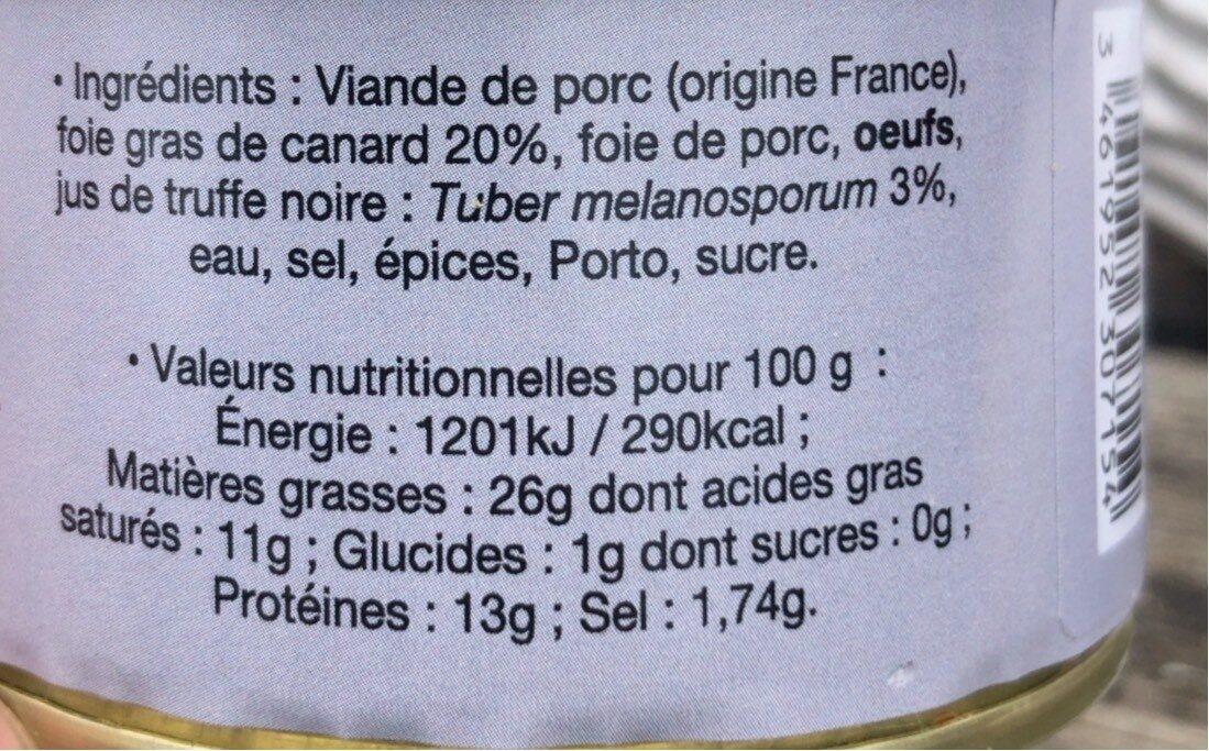 Terrine au foie de canard au jus de truffes noires - Informations nutritionnelles - fr