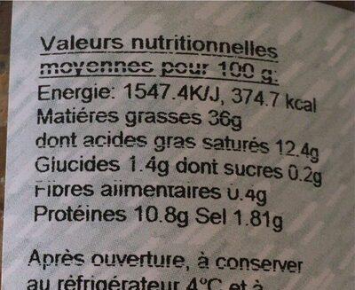 Terrine de canard à l'orange - Informations nutritionnelles - fr