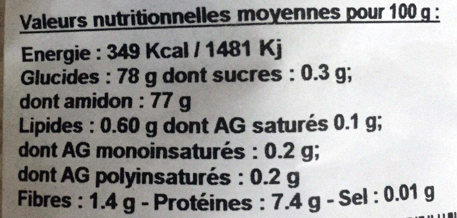 Préparation pour Risotto avec Cèpes du Quercy - Informations nutritionnelles