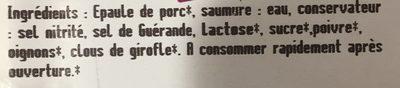 Allumettes D'épaule Cuite - Ingrediënten