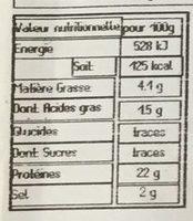 Allumettes D'épaule Cuite - Voedingswaarden