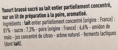 Yaourt sur lit de Poire - Ingredients - fr