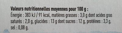 Yaourt sur lit de Poire - Nutrition facts - fr