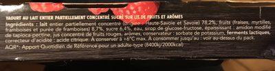 Fruits rouges : Fraise - Framboise - Myrtille - Ingredients