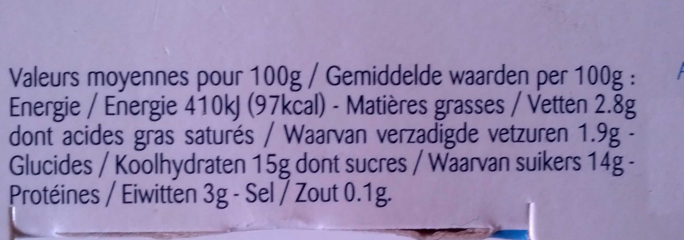 Fruits rouges : Fraise - Framboise - Myrtille - Nutrition facts