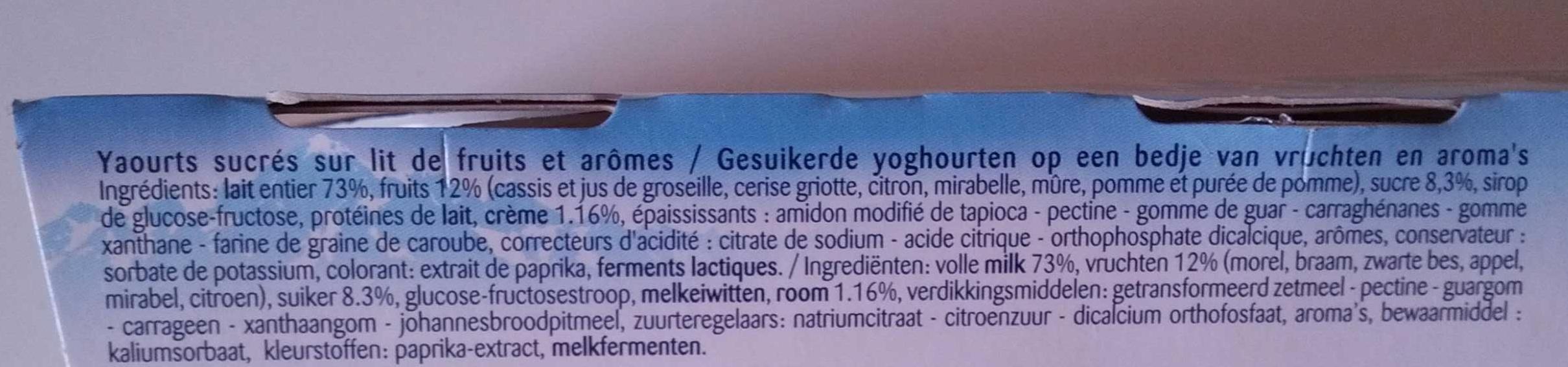 Corbeille de fruits : pomme-cerise-citron-mûre-mirabelle-cassis - Ingrediënten