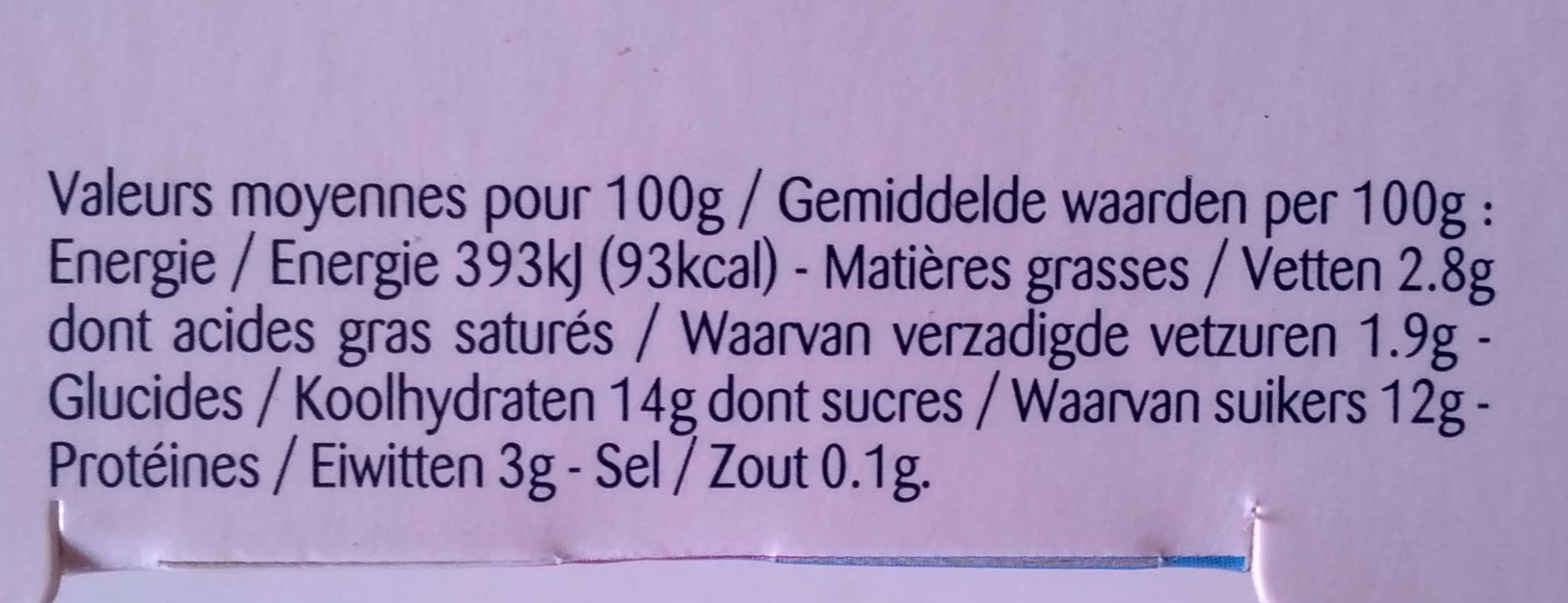 Corbeille de fruits : pomme-cerise-citron-mûre-mirabelle-cassis - Voedingswaarden