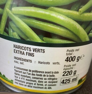 Haricots Verts - Informations nutritionnelles - fr