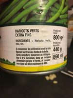 Haricots Verts Extra Fins - Ingrédients - fr