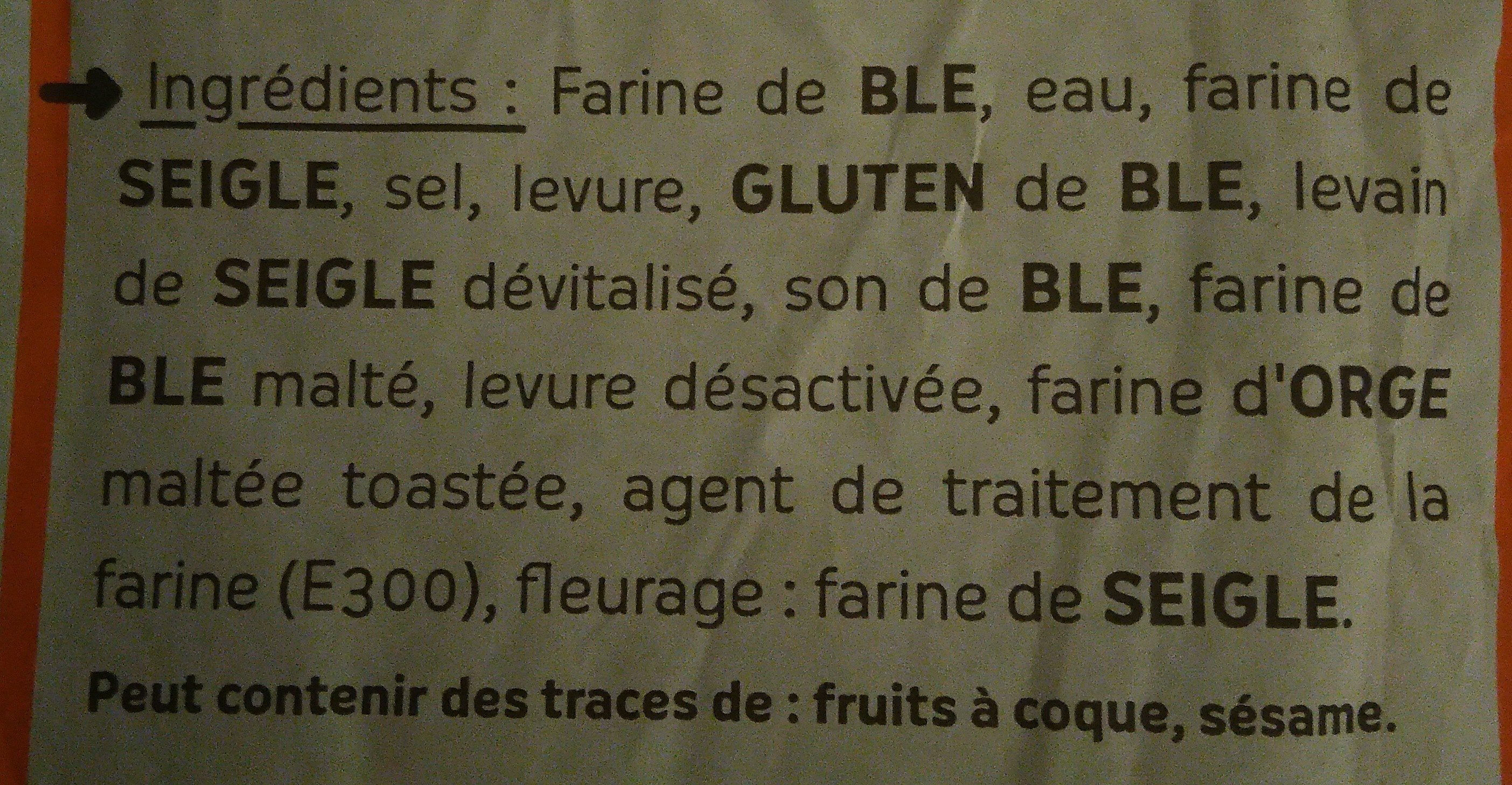 Batard de campagne - Ingredients