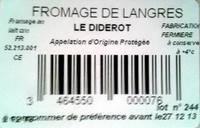 Fromage de Langres fermier - Ingredientes