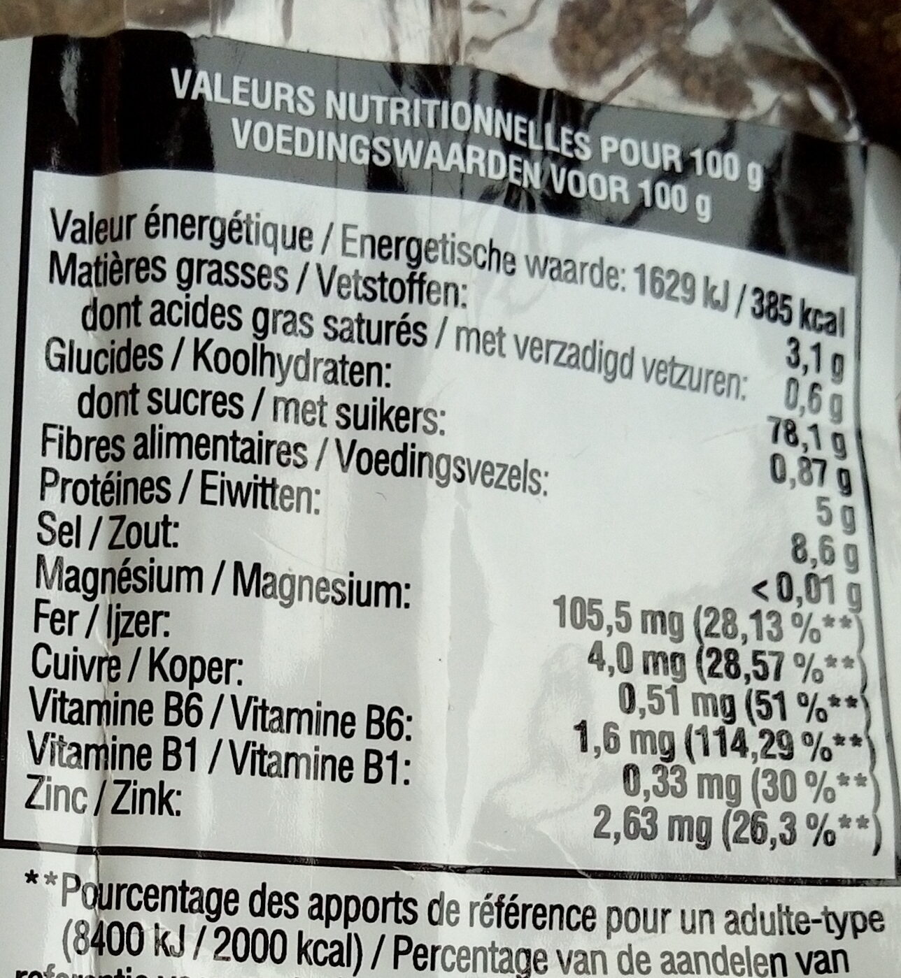Fonio complet - Valori nutrizionali - fr