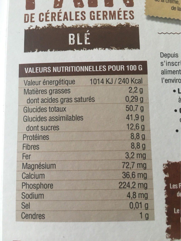 Pain de céréales germées - Nutrition facts - fr