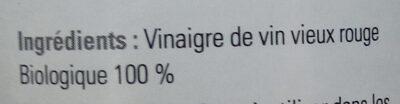 Vinaigre de vin vieux rouge bio 50 cl - Ingredients - fr