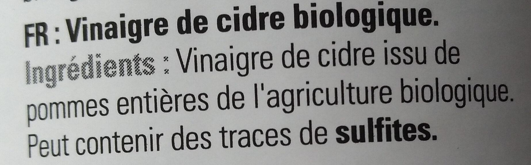 Vinaigre de cidre bio - Ingrédients - fr