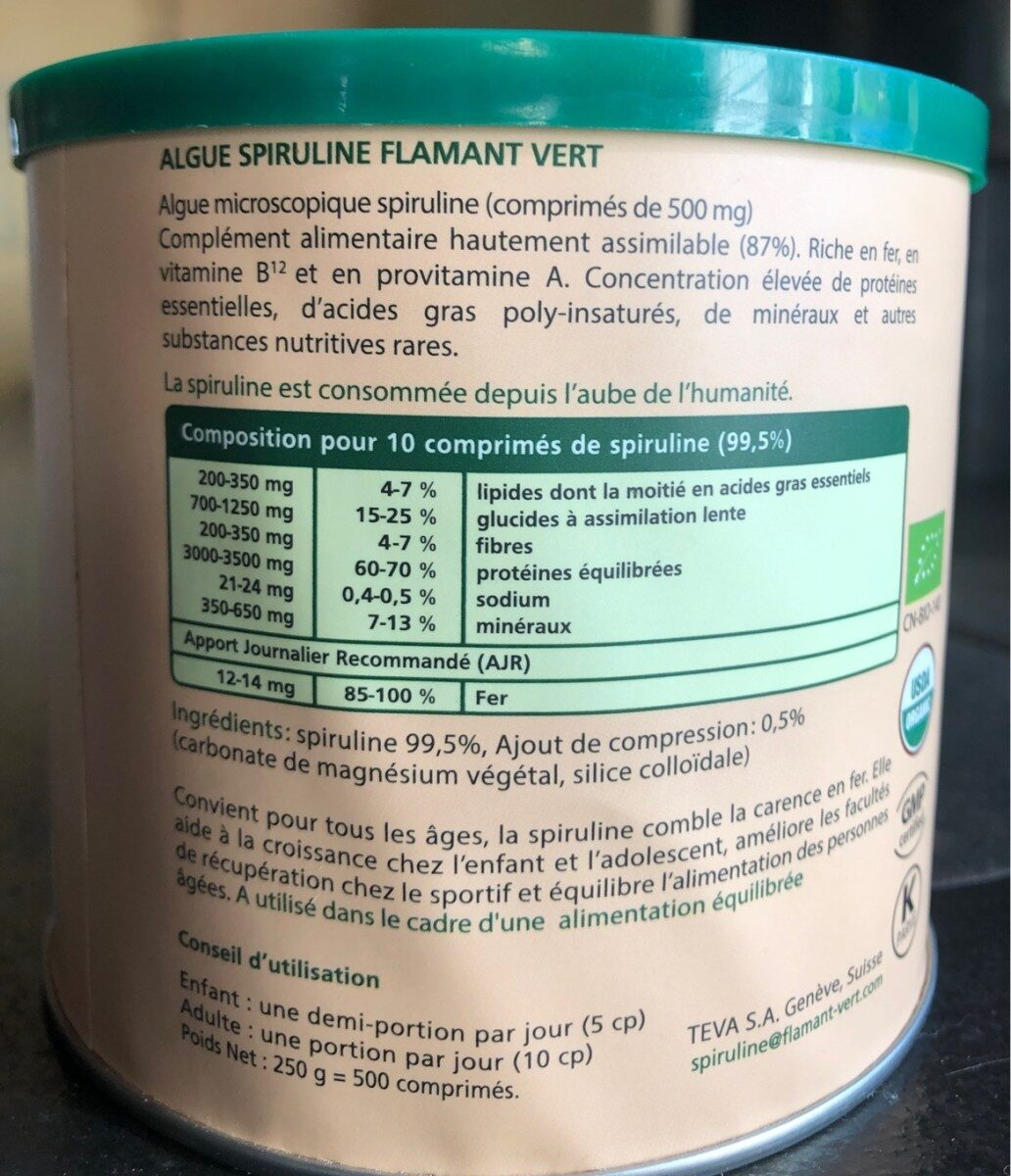 Spiruline - Ingredients