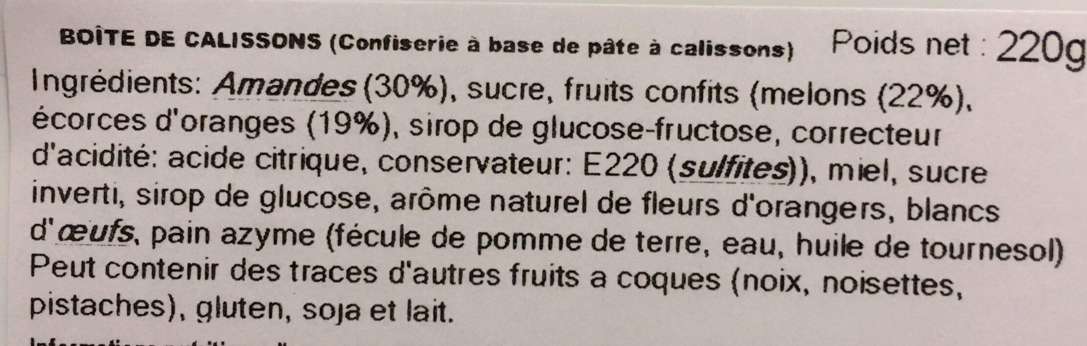 Calissons de Provence - Ingredients - fr