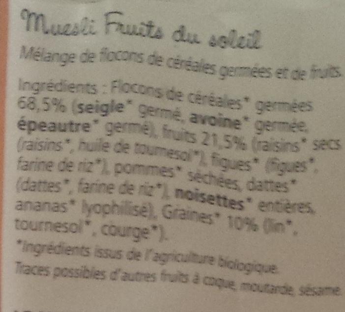 Muesli céréales germées fruits du soleil - Ingrédients - fr