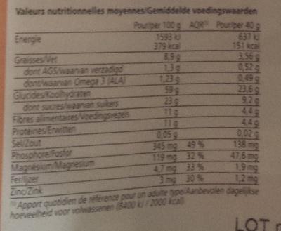 Muesli céréales germées fruits du soleil - Informations nutritionnelles - fr