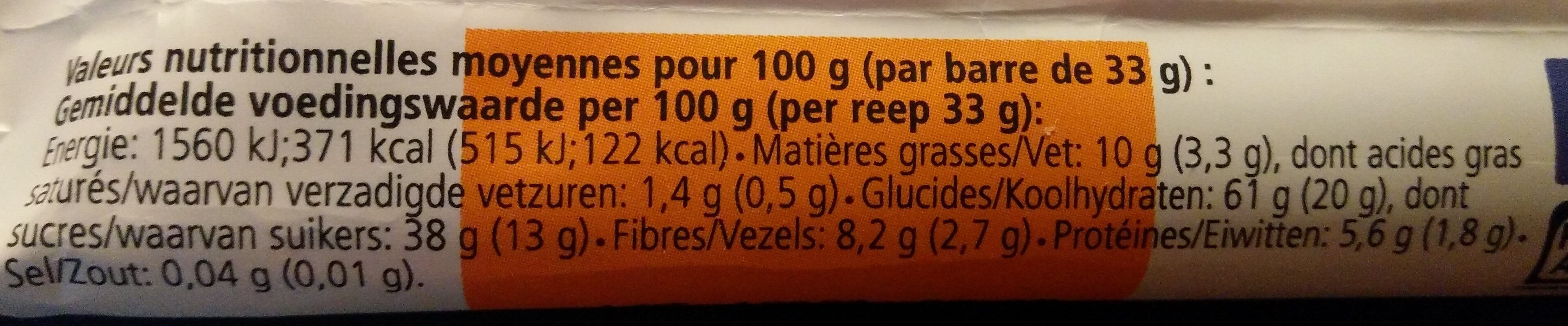 Barre bio My Super Food Veggie Abricot Figue - Informations nutritionnelles