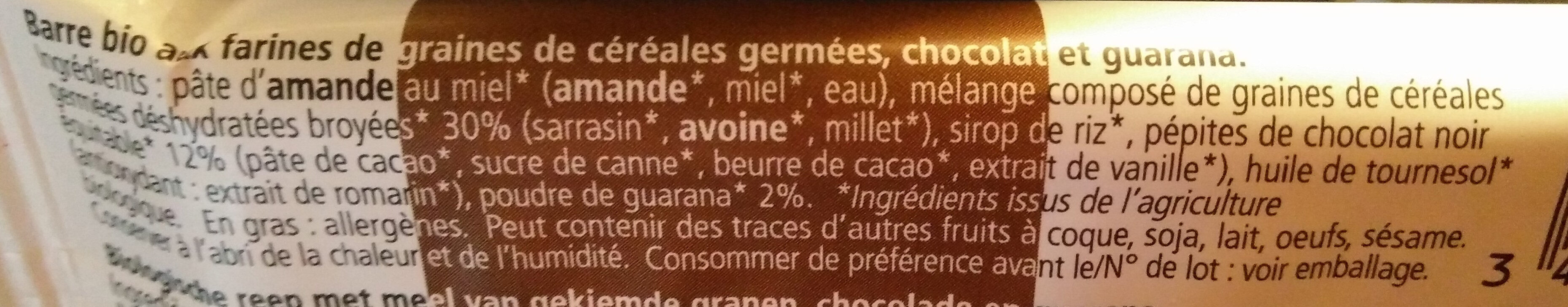 Barre Bio My Super Food Veggie chocolat guarana - Ingrediënten - fr
