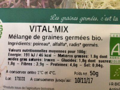Vital'mix Mélange de Graines Germées Bio - Ingrédients - fr