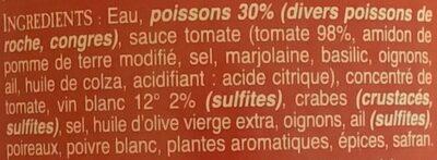 Soupe de poissons de roche AU BEC FIN - Ingredientes - fr
