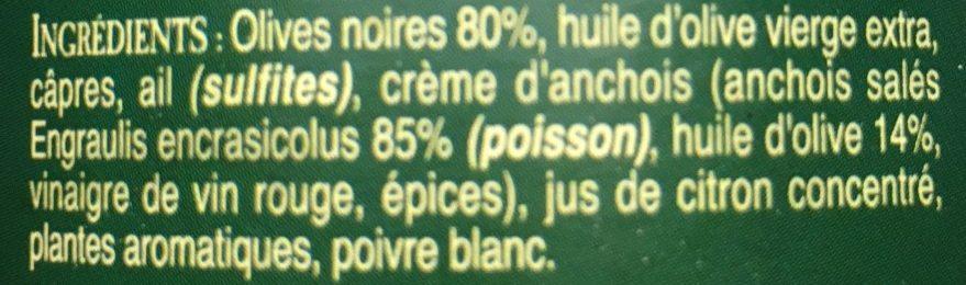 Tapenade noire facon des bergers Varois - Ingrediënten