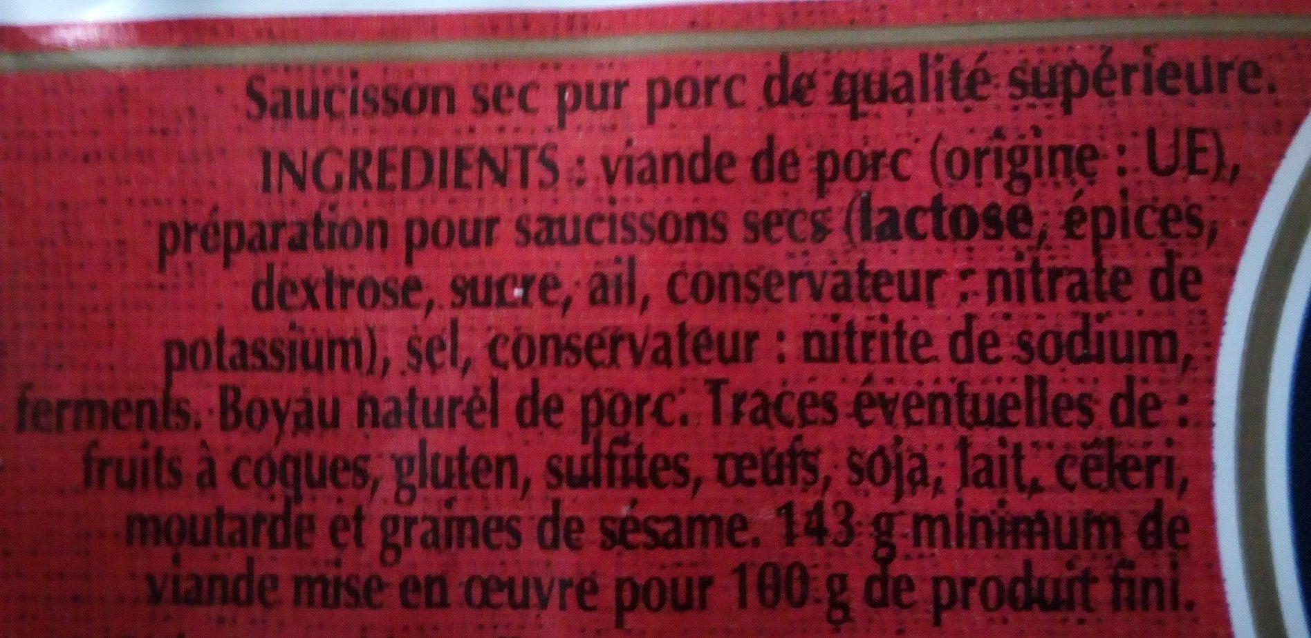 Le Dodu saucisson sec pur porc de qualité supérieure - Ingrédients - fr