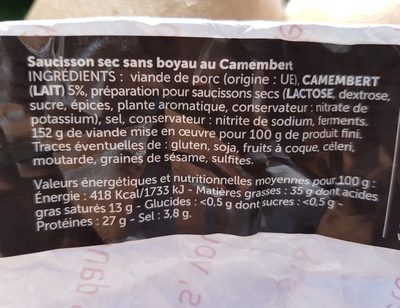 Le carré camembert - Ingredients
