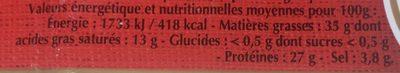Le carré camembert - Nutrition facts