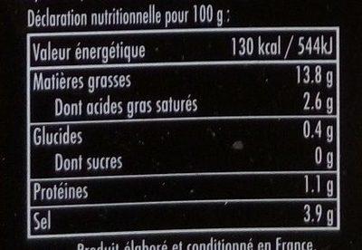Olives Vertes Dénoyautées Pimentées - Voedingswaarden - fr