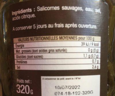 Salicorne sauvage au naturel - Informations nutritionnelles