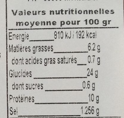 Acras de crevettes - Nutrition facts