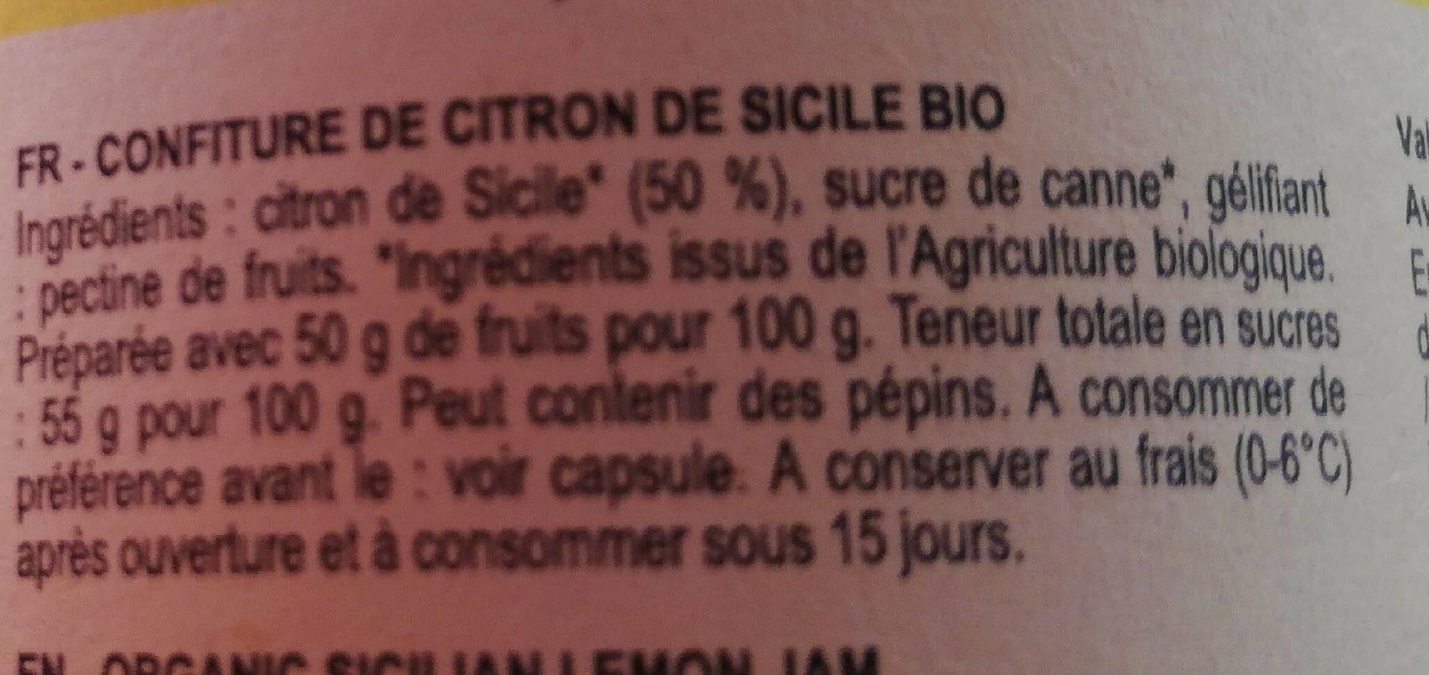 confiture extra citron de Sicile - Ingredients