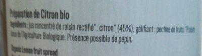 Préparation de citron bio - Ingredients