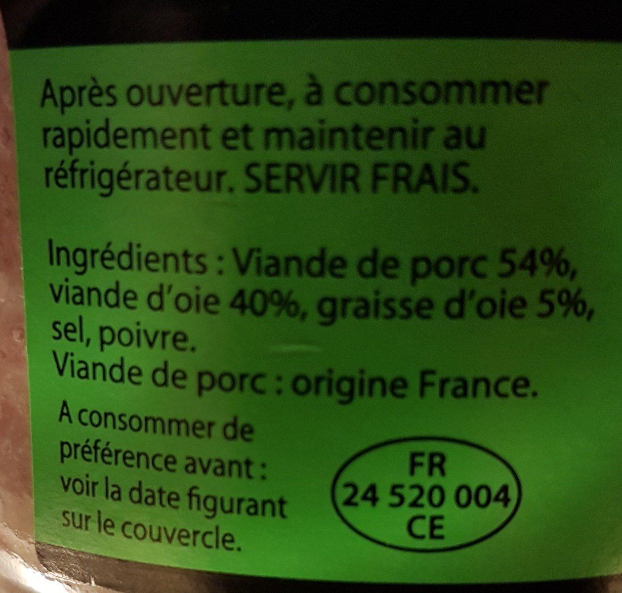 Grillons Porc et Oie - Ingredients - fr