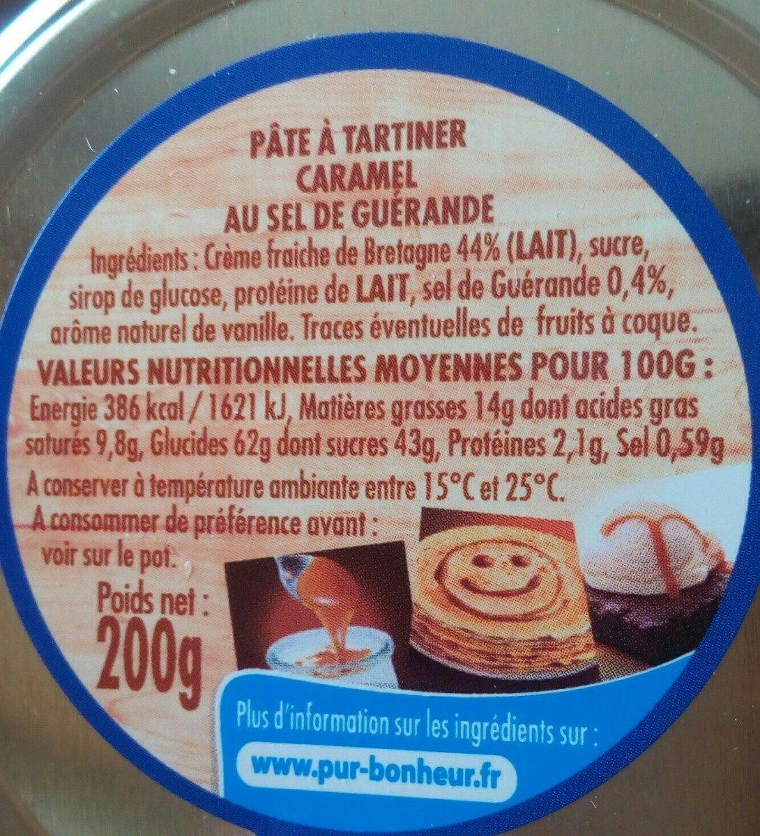La Confiserie Familiale Caramel - Ingrédients - fr
