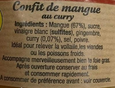 Confit de mangue au curry les 4 saisons avis de consommation - Vinaigre blanc composition ...