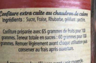 Fraise Rhubarbe - Ingrédients