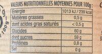 Fraise Rhubarbe - Informations nutritionnelles - fr