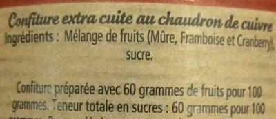 Mûre Framboise Cranberry - Ingrédients - fr